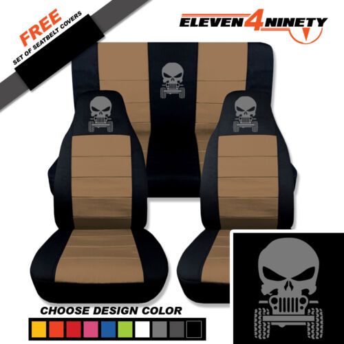 Choose COLORS 1987-2006 Wrangler Front /& Rear Seat Covers  with Skull Design