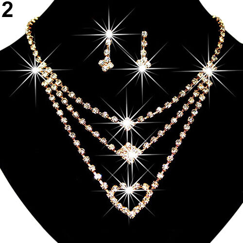 EG/_ Stylish Wedding Bride Love Heart Multilayer Necklace Earrings Jewelry Set Gi