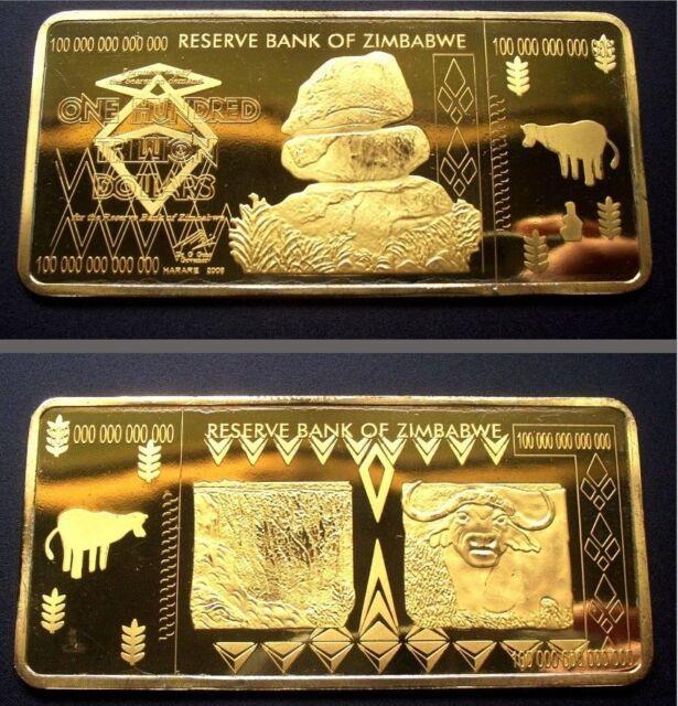 Zimbabwe 100 Trillion Dollars 24k Pure Plated Bullion Gold Bar Ingot