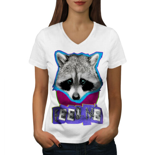 Lovely Graphic Design Tee Wellcoda Cute Racoon Face Womens V-Neck T-shirt