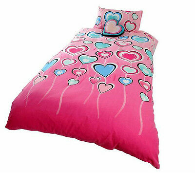 Lipstick MADELINE Love Hearts Pink Quilt Doona Cover Set - SINGLE, DOUBLE, QUEEN