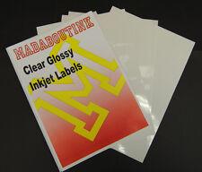 5 A4 Sheets Clear / Transparent Address Labels Inkjet Printable 1 per Sheet