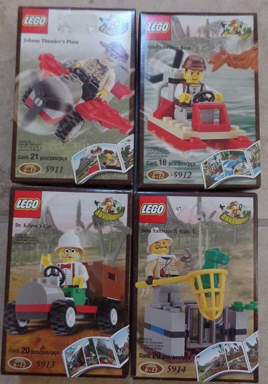 Lego 5911  5912 5913 5914 Adventurer Sets Boat auto Dinosaur Plane MINT nuovo 2000  Spedizione gratuita per tutti gli ordini