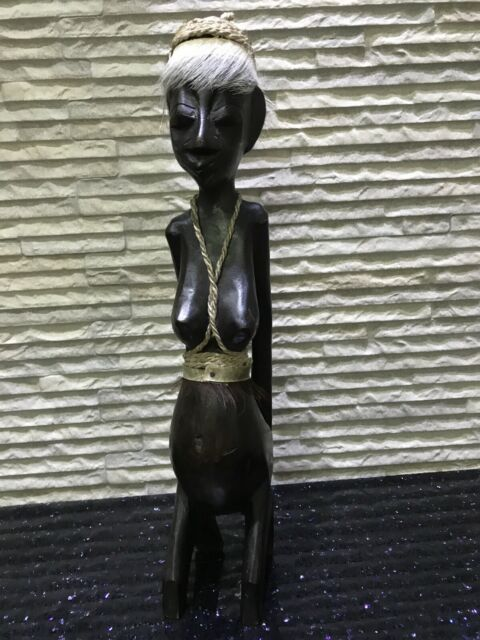 "13"" Vintage Carved Wooden Statue Nude Female Sculpture African?"