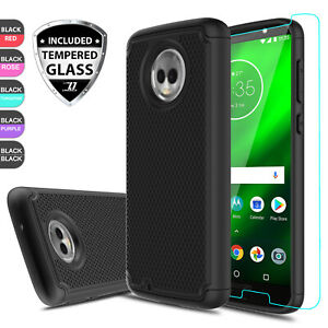 For-Motorola-Moto-G6-Shockproof-Hybrid-Armor-Phone-Case-Cover-Screen-Protector