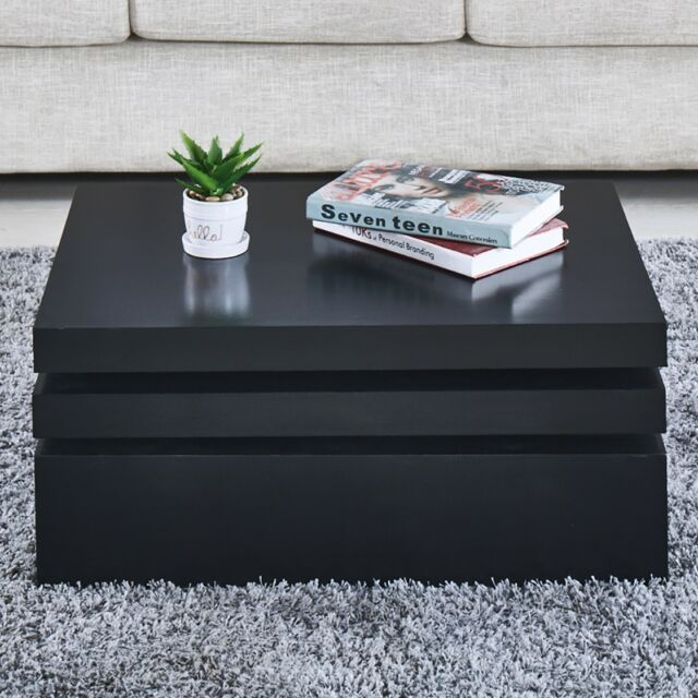 Black Square Coffee Table Rotating Contemporary Modern Living Room  Furniture NEW