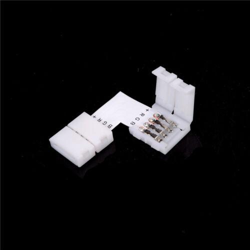 5x Solderless 4-polige Stecker 12V 5050 LED RGB-Streifen-Steckverbinder 90 Grad