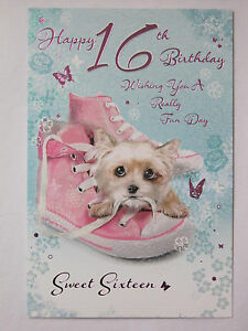 Sweet sixteen glittered cute playful puppy happy 16th birthday image is loading sweet sixteen glittered cute playful puppy happy 16th m4hsunfo