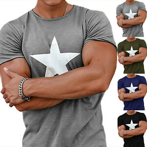 Men-039-s-Gym-Summer-Slim-Fitted-Casual-Short-Sleeve-Muscle-Tee-Tops-T-shirt-Blouse