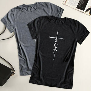 b64b60d5e 2019 Women Fashion Cross Faith T Shirt Graphic Tees Christian Shirts ...