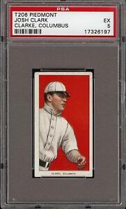 Rare 1909-11 T206 Josh Clark Clarke Piedmont 350 Columbus PSA 5 EX
