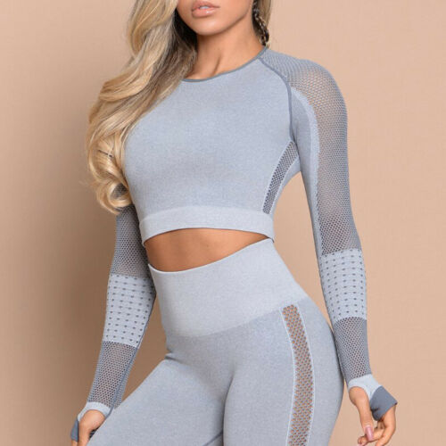Women Seamless Push Up Yoga Suit Crop Top+Legging Shirt Pant Fitness Workout Set
