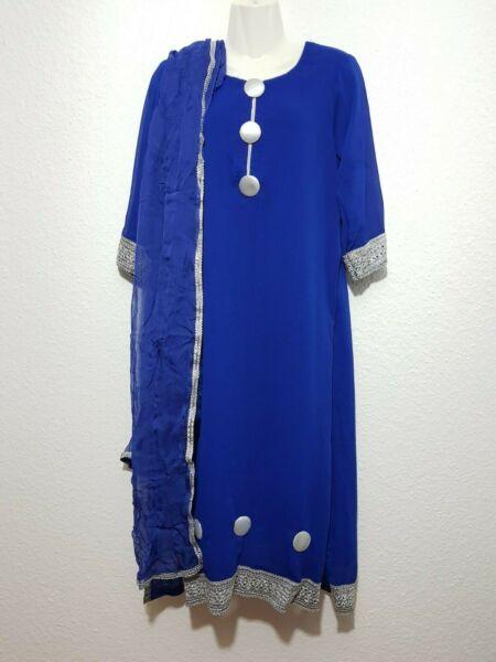 2 Divisores Indio Atuendo Kurta Túnica Vestido + Pañuelo Dupatta Bufanda Azul Talla M-ver