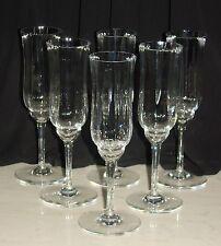 "6 BACCARAT France Crystal Capri Optic 7-3/8"" Fluted Champagne Glasses Signed"