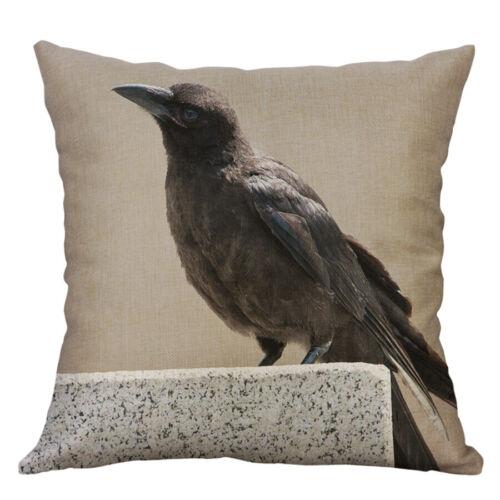 Crow Print Cotton Linen Pillow Case Cover Throw Sofa Cushion Cover Home Decor