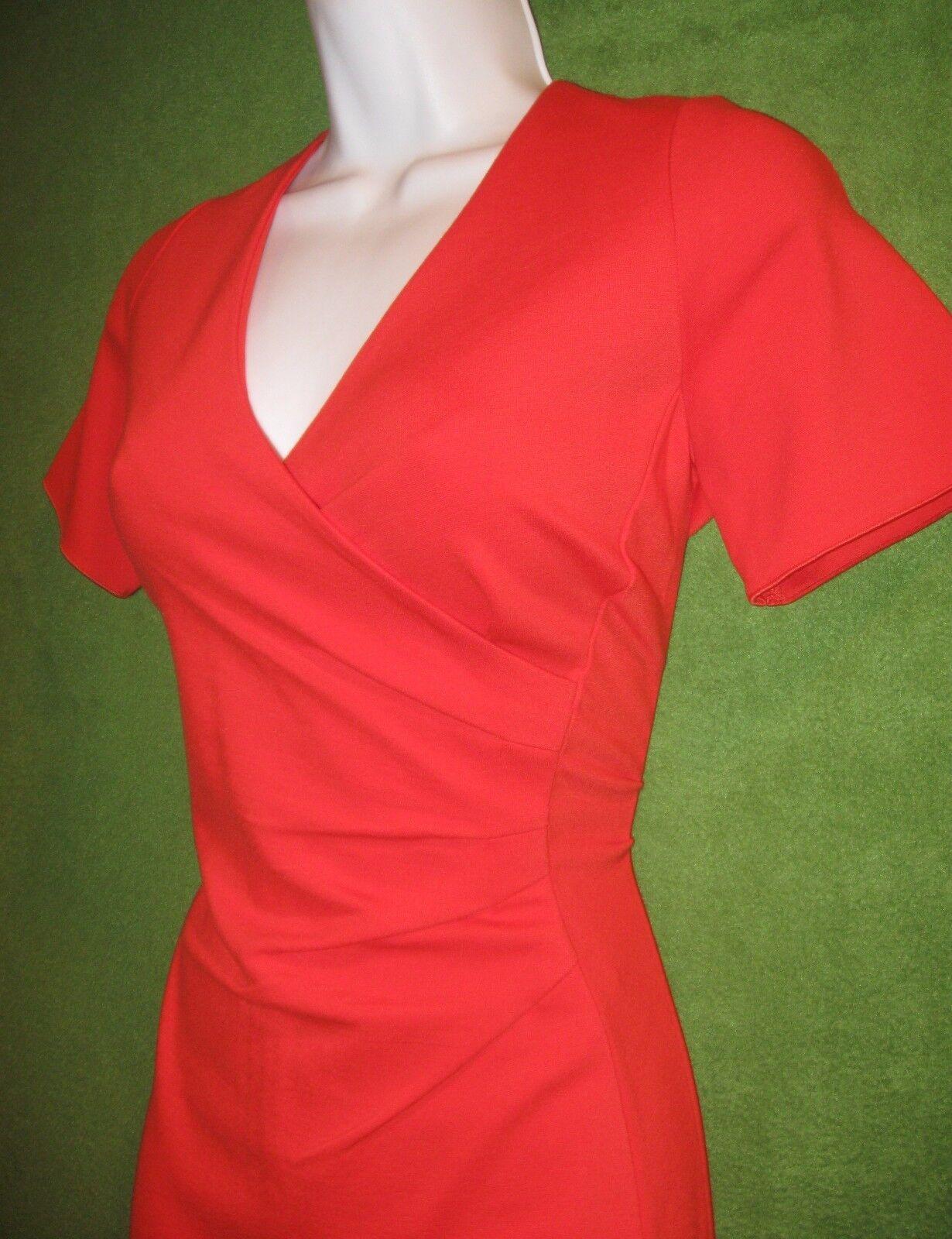 Lands Rojo Rojo Rojo Naranja Elastizado Imitación-End Envoltura Ponte Vestido informal social de trabajo 12  75 e8739e