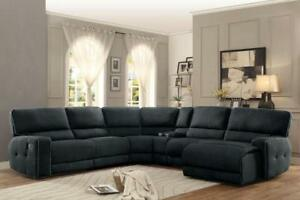 Details about ELIZA-6pc Dark Gray Fabric Reclining Sofa Couch Chaise  Sectional Set Living Room