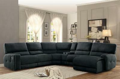 ELIZA-6pc Dark Gray Fabric Reclining Sofa Couch Chaise Sectional Set Living  Room | eBay