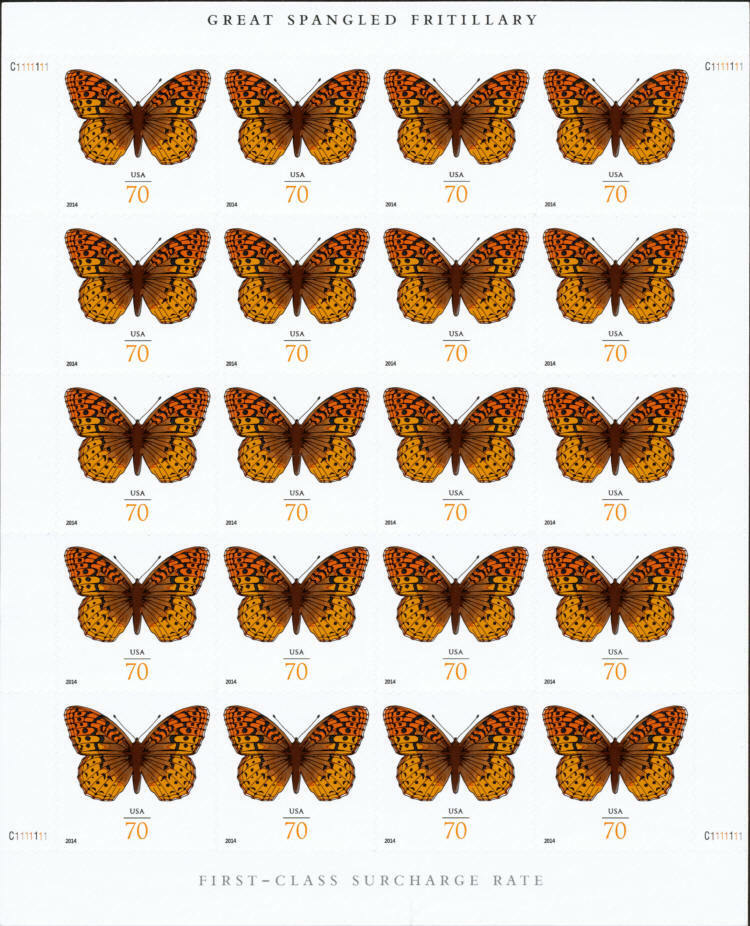 2014 70c Great Spangled Fritillary Butterfly, Sheet of