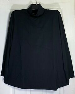 J-Jill-women-Plus-Size-2x-Pima-cotton-relaxed-turtle-neck-tunic-Top-Black-New