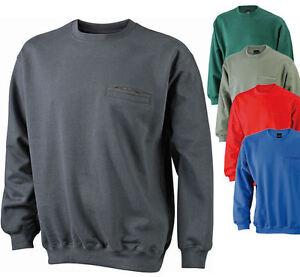 beliebte Marke großer Rabattverkauf Brandneu Details zu James & Nicholson Herren Sweatshirt mit Brusttasche Pullover  Pulli Jacke Shirt