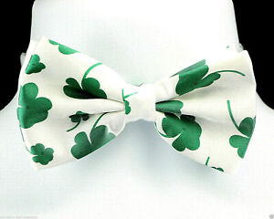 green bow tie shamrock bow tie double layer bow tie pre tied bow tie shamrock tie St Patrick/'s Day tie Mens bow tie