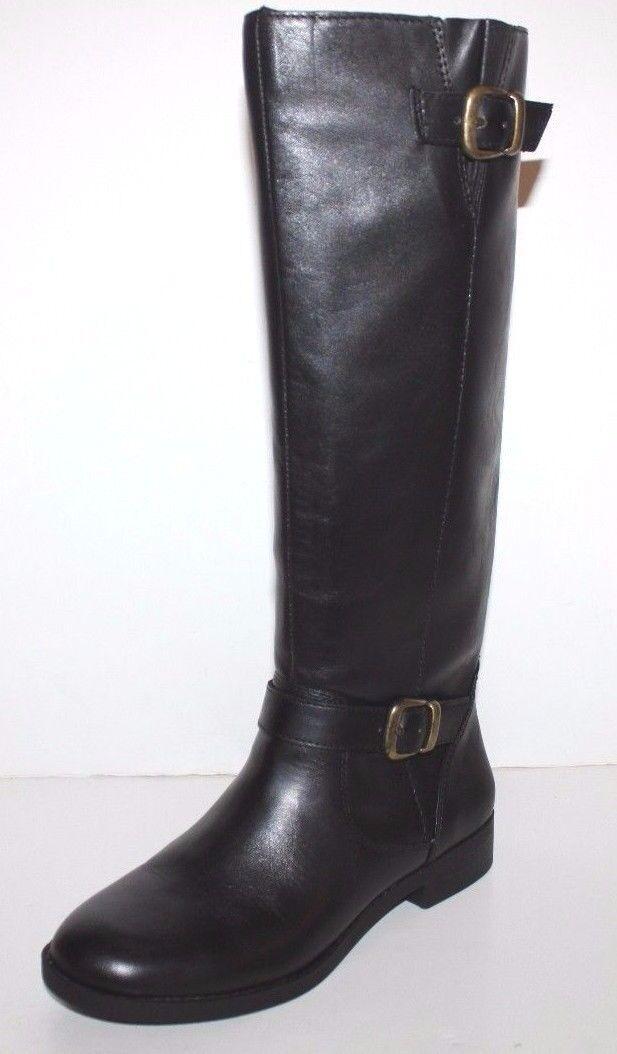 GH Bass NIB Women Joanne Black Leather Riding Boots w/ Back Zipper