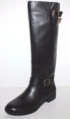 GH Bass NIB Women Joanne Black Leather Riding Boots w/ Back Zipper