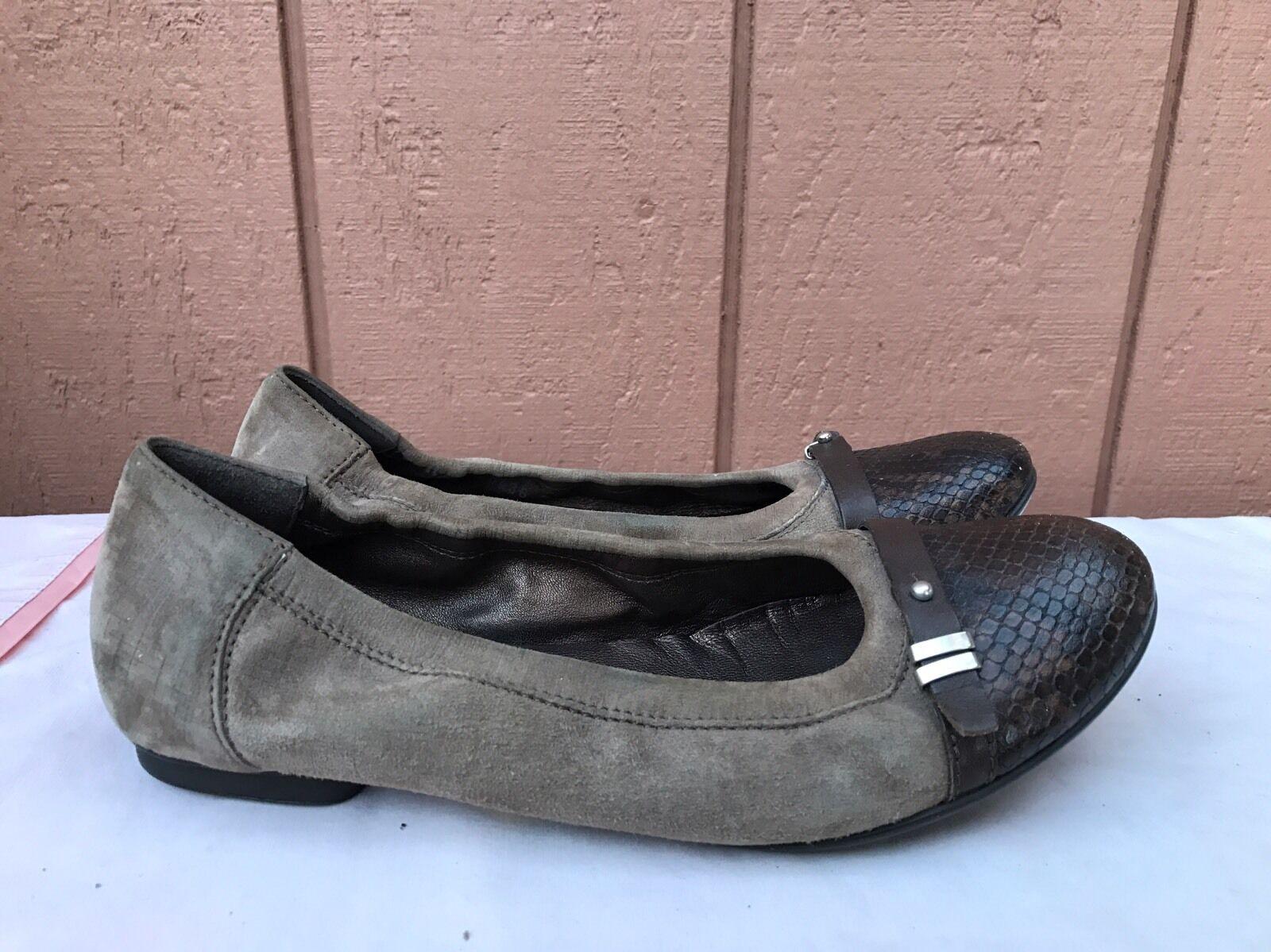 la migliore moda AGL AGL AGL Attilio Giusti Leombruni Beige Leather Ballet Flat Snake Toe 38.5 US 7.5 - 8  garantito