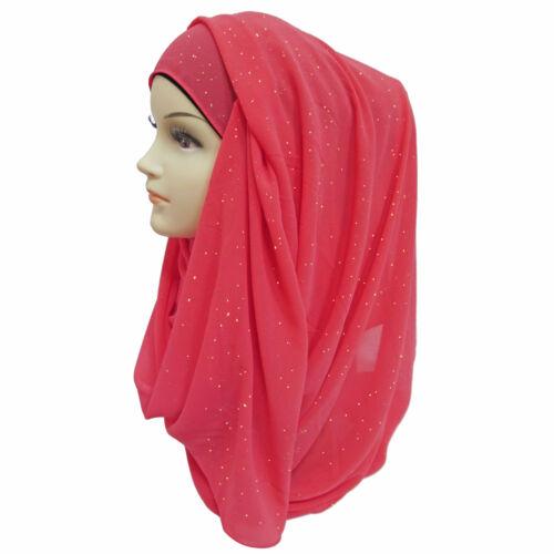 Shimmer Sparkle Gold Glitters Plain Chiffon Muslim Hijab Scarf Shawl Head Wrap
