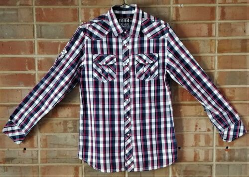 BKE Mens Pearl Snap Shirt Plaid Checker Vintage Di