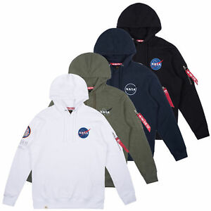 8cc52bf51 Details about Alpha Industries Men's Hooded Pullover Apollo 11 Hoodie Nasa  Pullover S to 3XL