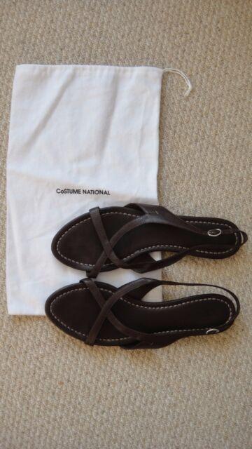 Costume National griego Sandalias De Cuero Marrón Talla 40 UK7 Net un Porter Farfetch