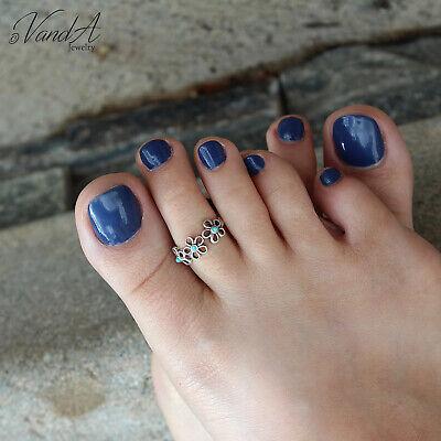 sterling silver toe ring flower design toe ring adjustable toe ring T02