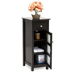BCP-Bathroom-Storage-Floor-Cabinet-w-3-Shelves-Tempered-Glass-Double-Doors