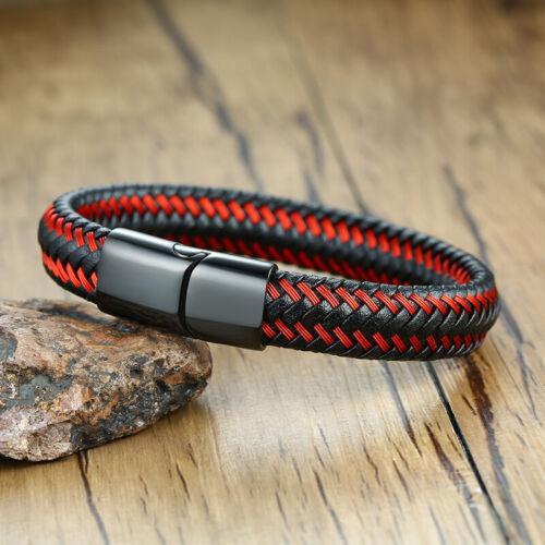 Wine Red Men Braided Leather Medical Alert ID Bracelet Wristband Bracelet Bangle