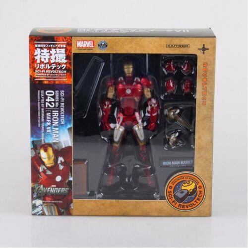 SCI-FI IRON MAN Kaiyodo Marvel Revoltech 042 MARK VII PVC Action Figure 6'' A89L