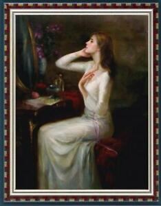 "Oil painting original Art Impressionism Portrait girl on canvas 24""x36"""