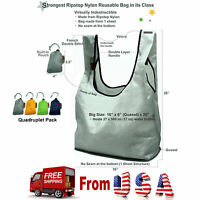 4 Pack Super Strong Ecojeannie Ripstop Nylon Foldable Reusable Bag Grocery Tote