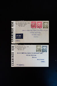Bermuda-Lot-of-2-Stamped-Rare-Early-Covers-Barbados-to-Halifax
