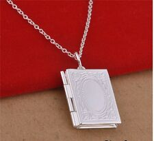 925 Sterling Silver Plated Opening Book Locket Necklace & Pendant 18 inch/46cm