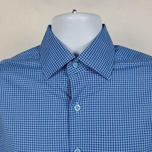 Peter-Millar-Summer-Comfort-Blue-Gingham-Check-Mens-Dress-Button-Shirt-Medium-M