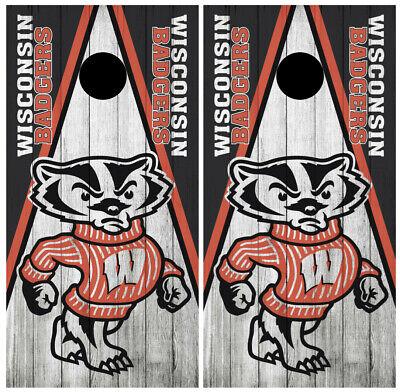 Wisconsin Badgers Cornhole Board Wraps Skins Vinyl Laminated HIGH QUALITY!