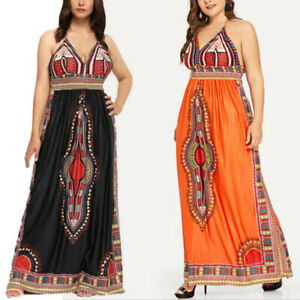 Details about Women Plus Size Long Maxi Dress Sleeveless Halter African  Dashiki Print Vintage