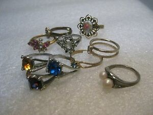 Lot-of-10-Fashion-Rings-with-Rhinestones-sizes-7-9-Late-1980-039-s-1990-039-s