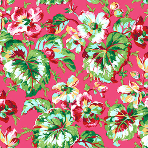 Snow Leopard English Garden PWSL054 Begonia Cherry Cotton Fabric By Yd