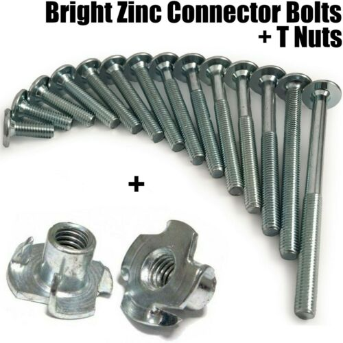 150 mm Filetage M8 zinc mobilier Connecteur Boulons 4 volets T-écrous insert 15 mm