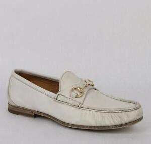 53d010ccf46 New Gucci Men s White Danubo Washed Leather Horsebit Loafer 373636 ...
