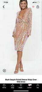 Missguided-Blush-Sequin-Dress-Size-6