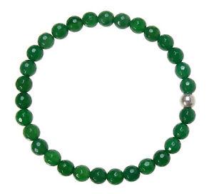 ACHAT-GRUN-Edelstein-Armband-Stretch-Perlenarmband-D436